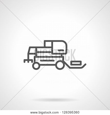 Agricultural machinery. Hay loader tractor. Farming tractors and combines. Simple black line vector icon. Single element for web design, mobile app. poster