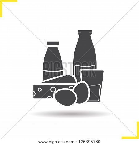Dairy icon. Drop shadow dairy products icon. Glass and bottle of milk, eggs, cheese. Isolated black dairy illustration. Logo concept. Vector silhouette dairy products symbol