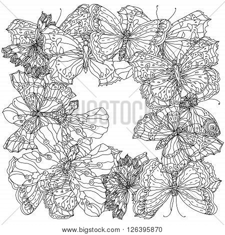 uncolored butterfly for Adult coloring book in famous zenart style. Hand-drawn, retro, doodle, vector, uncoloured. Black and white. The best for design, textiles, cards, coloring book
