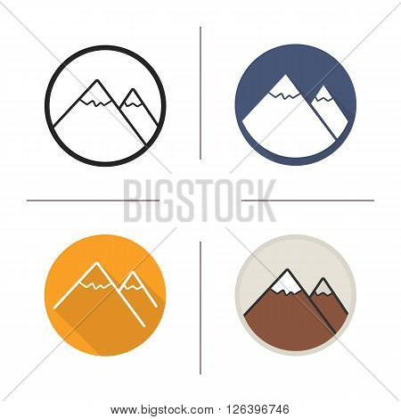 Mountains flat design, linear and color icons set. Mountain range in different styles. Large rocky landfrom. Long shadow logo concept. Isolated mountains vector illustrations. Infographic elements