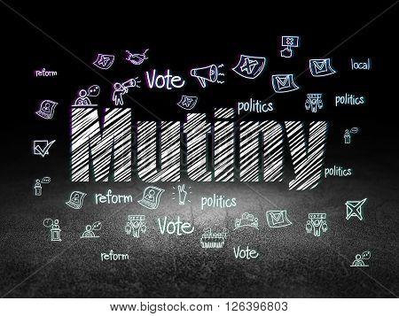 Political concept: Mutiny in grunge dark room