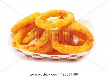 A Takeout Snack of Onion Rings Over White
