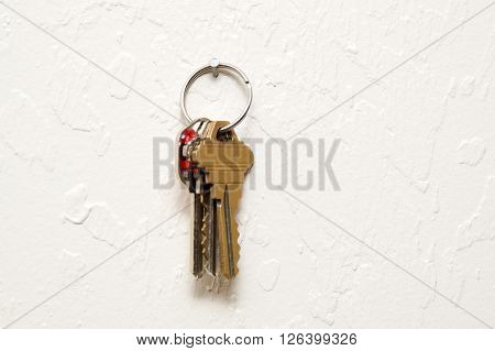 Keyring Hanging On Wall With Keys