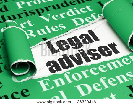 Law concept: black text Legal Adviser under the piece of  torn paper