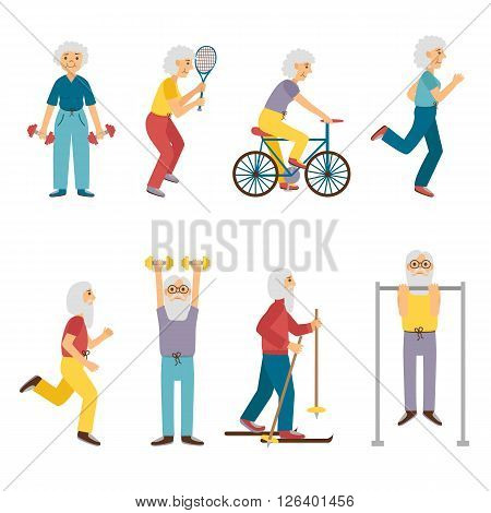 Vector set of cartoon characters. Old people activity: dumbbell skiing running tennis cycling. Happy active grandfather and grandmother. Old people activity concept. Vector old man and old woman poster