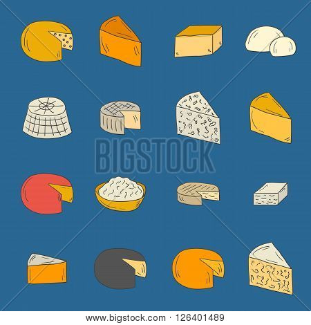 Vector hand drawn cheese types objects. Illustration with europe cheese kind. Milk production. Cheese types cute concept. Europe cuisine. Cheese slices daily europe breakfast products. French cheese