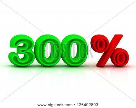 300 PERSENT business icon discount green and red keywords isolated on white background