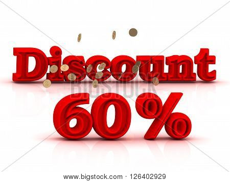 60 PERSENT DISCOUNT HOT PRICE Bright red keywords isolated on white background