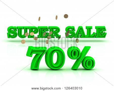 70 PERSENT SUPER SALE business sign green keywords isolated on white background
