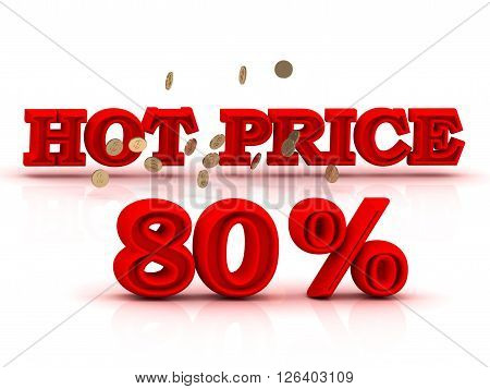 80 PERSENT HOT PRICE business icon red keywords isolated on white background