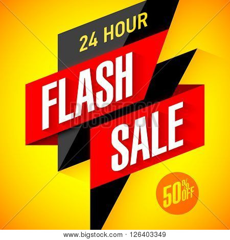24 hour Flash Sale banner. Vector illustration.