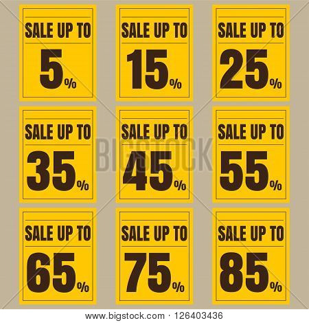 Sale discount labels. Special offer price signs. 5 15 25 35 45 55 65 75 and 85 percent off reduction symbols.