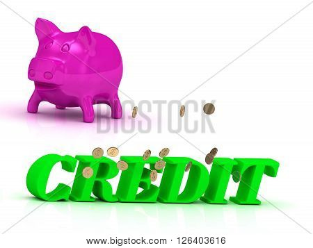 CREDIT bright word many monets money pink piggy on white background