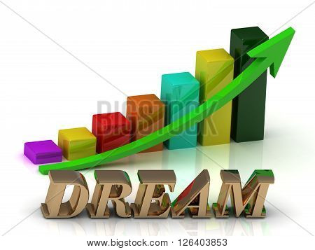 DREAM bright of gold letters and Graphic growth and green arrows on white background
