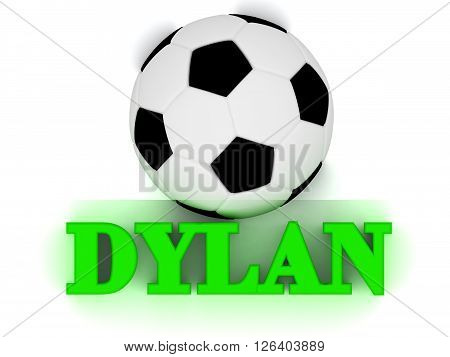 DYLAN bright volume letter word football big ball on white background