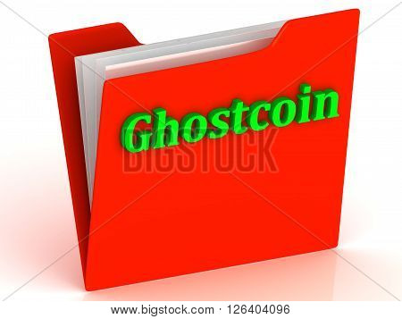 Ghostcoin- bright green letters on red paperwork folder witch paper list on a white background