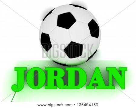 JORDAN bright volume letter word football big ball on white background