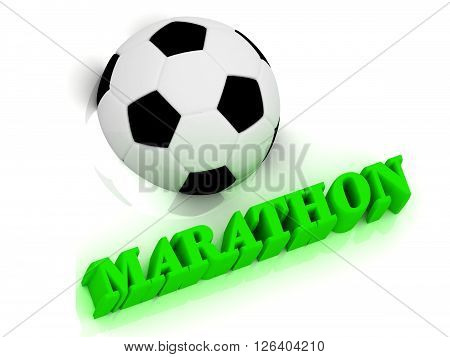 MARATHON bright volume letter word football half ball on white background