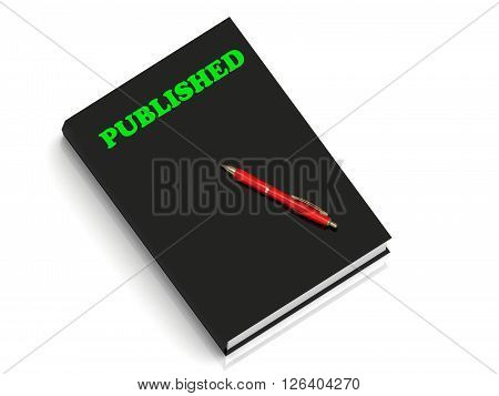 PUBLISHED- inscription of green letters on black book on white background