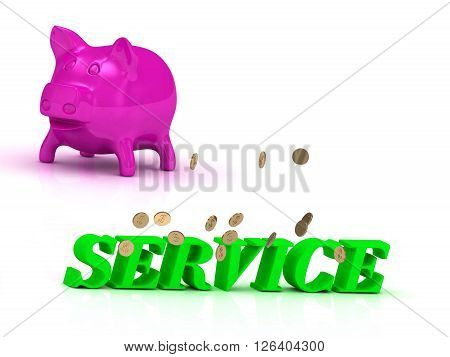 SERVICE Name and Family bright word pink piggy on white background