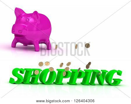 SHOPPING Name and Family bright word pink piggy on white background
