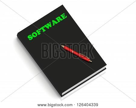 SOFTWARE- inscription of green letters on black book on white background