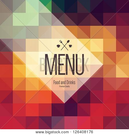 Restaurant menu design. Vector menu brochure template for cafe, coffee house, restaurant, bar. Food and drinks logotype symbol design. Abstract vintage paper background