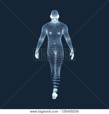 Man Stands on his Feet. 3D Model of Man. Vector Graphics Composed of Particles.
