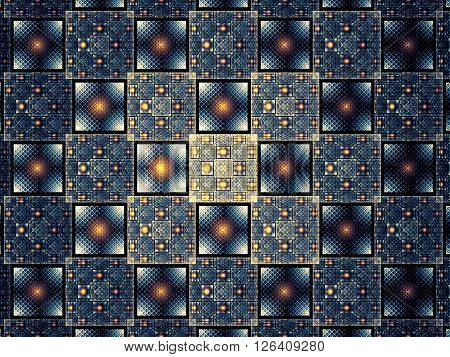 Abstract computer-generated image Fractal background with grid, squares and circles. Repeating pattern wor web-design, covers, posters