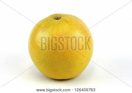 single yellow pummelo isolated on white background