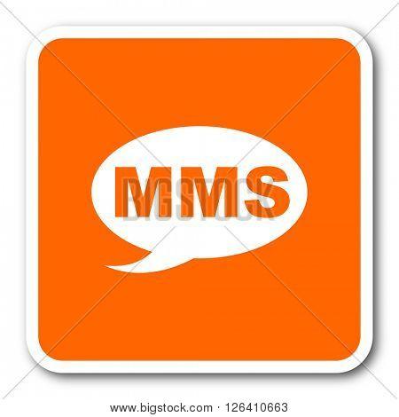 mms orange flat design modern web icon