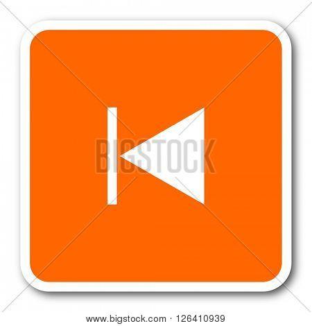 prev orange flat design modern web icon