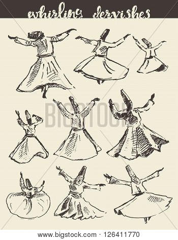 Whirling dervishes vector illustration hand drawn sketch poster