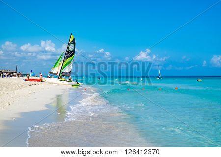 HAVANA,CUBA- MARCH 17,2016 : The beautiful beach of Varadero in Cuba