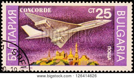 MOSCOW RUSSIA - APRIL 18 2016: A stamp printed in Bulgaria shows supersonic passenger aircraft Concorde series