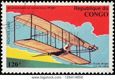 MOSCOW RUSSIA - APRIL 14 2016: A stamp printed in Congo shows 1st flight of Orville Wright in 1903 series