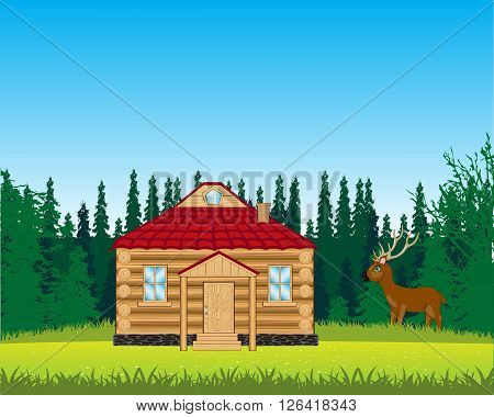 The Small house on year glade.Vector illustration