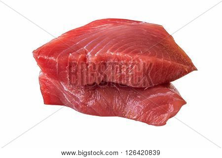 Fresh Tuna Steak on a white background - fresh slices