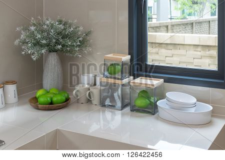 modern pantry with utensil in modern kitchen