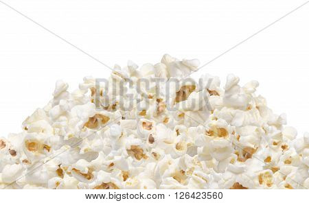 Heap of popcorn isolated on white background