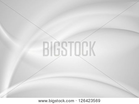 Abstract smooth grey pearl waves background. Vector graphic art blurred wavy design