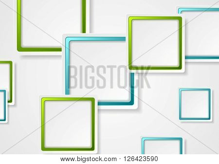 Bright green and blue geometric squares design. Vector template background