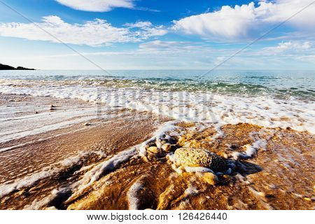 Fantastic view of the azure sea. Clear sky on a sunny day with fluffy clouds. Picturesque and gorgeous scene. Location place: Island Sicily, Italy, Europe. Artistic picture. Beauty world.
