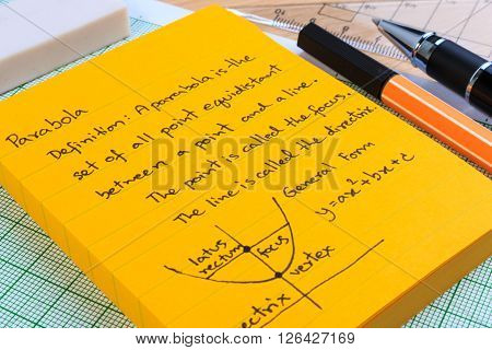Lecture Notes In Mathematics. Parabolas And Quadratic Theory.