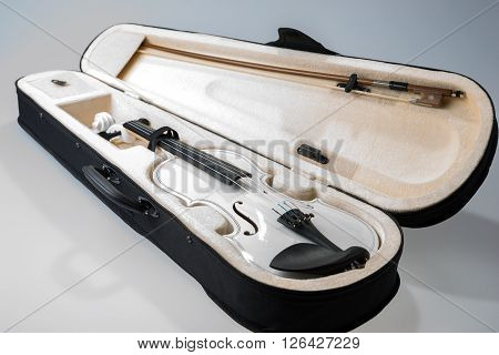 White violin with the bow in hard cover isolated