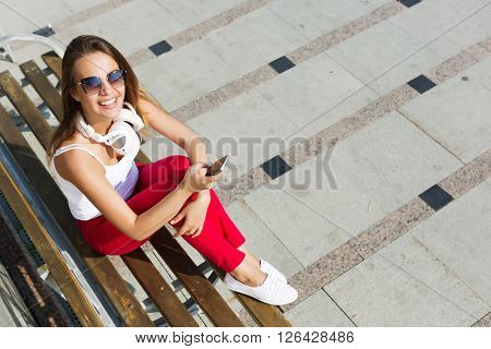 Girl having good time outdoors