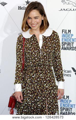 Emilia Clarke at the 2016 Film Independent Spirit Awards held at the Santa Monica Beach in Santa Monica, USA on February 27, 2016.
