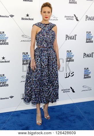 Brie Larson at the 2016 Film Independent Spirit Awards held at the Santa Monica Beach in Santa Monica, USA on February 27, 2016.
