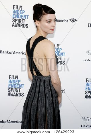 Rooney Mara at the 2016 Film Independent Spirit Awards held at the Santa Monica Beach in Santa Monica, USA on February 27, 2016.