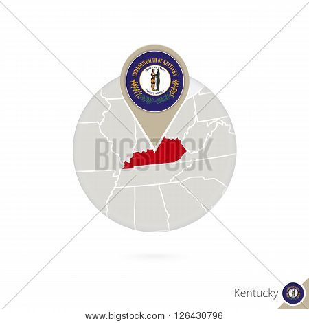 Kentucky Us State Map And Flag In Circle. Map Of Kentucky, Kentucky Flag Pin. Map Of Kentucky In The